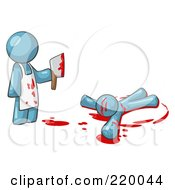 Royalty Free RF Clipart Illustration Of A Denim Blue Man Killer Holding A Cleaver Knife Over A Bloody Body