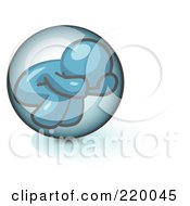 Shy Denim Blue Man Hiding Inside A Bubble by Leo Blanchette