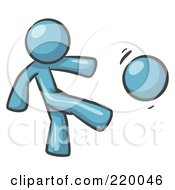 Royalty Free RF Clipart Illustration Of A Denim Blue Man Kicking A Ball
