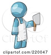 Royalty Free RF Clipart Illustration Of A Denim Blue Man Butcher Holding A Meat Cleaver Knife