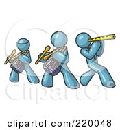 Royalty Free RF Clipart Illustration Of Three Denim Blue Men Playing Flutes And Drums At A Music Concert