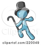 Royalty Free RF Clipart Illustration Of A Denim Blue Man Dancing And Wearing A Top Hat