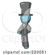 Royalty Free RF Clipart Illustration Of A Denim Blue Man Depicting Abraham Lincoln