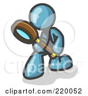 Royalty Free RF Clipart Illustration Of A Denim Blue Man Bending Over To Inspect Something Through A Magnifying Glass