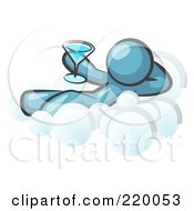 Royalty Free RF Clipart Illustration Of A Relaxed Denim Blue Man Drinking A Martini And Kicking Back On Cloud Nine