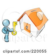 Royalty Free RF Clipart Illustration Of A Denim Blue Businessman Holding A Skeleton Key And Standing In Front Of A House With A Coin Slot And Keyhole