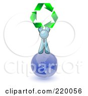 Denim Blue Man Standing On Top Of The Blue Planet Earth And Holding Up Three Green Arrows Forming A Triangle And Moving In A Clockwise Motion Symbolizing Renewable Energy And Recycling