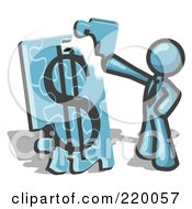Royalty Free RF Clipart Illustration Of A Denim Blue Businessman Putting A Dollar Sign Puzzle Together