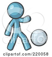 Royalty Free RF Clipart Illustration Of A Denim Blue Man Kicking A White Ball