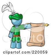 Royalty Free RF Clipart Illustration Of A Denim Blue Man Dressed As Robin Hood With A Feather In His Hat Holding A Blank Scroll And Acting As A Pageboy by Leo Blanchette