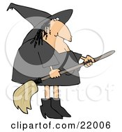 Fat Female Witch With A Wart On Her Nose Wearing Black And Holding A Broom Stick