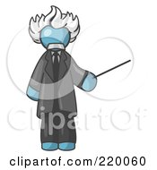 Royalty Free RF Clipart Illustration Of A Denim Blue Man Depicted As Albert Einstein Holding A Pointer Stick by Leo Blanchette