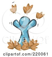 Royalty Free RF Clipart Illustration Of A Carefree Denim Blue Man Tossing Up Autumn Leaves In The Air Symbolizing Happiness And Freedom