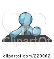 Royalty Free RF Clipart Illustration Of A Denim Blue Businessman Seated At A Desk During A Meeting