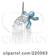 Royalty Free RF Clipart Illustration Of A Denim Blue Man Climbing To The Top Of A Skyscraper Tower Like King Kong Success Achievement