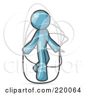 Royalty Free RF Clipart Illustration Of A Denim Blue Man Jumping Rope During A Cardio Workout Clipart Illustration