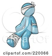Royalty Free RF Clipart Illustration Of An Injured Denim Blue Man Sitting In The Emergency Room After Being Bandaged Up On The Head Arm And Ankle Following An Accident Clipart Graphic