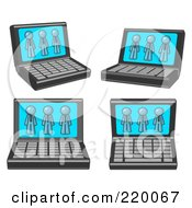 Royalty Free RF Clipart Illustration Of Four Laptop Computers With Three Denim Blue Men On Each Screen