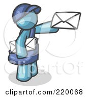 Royalty Free RF Clipart Illustration Of A Denim Blue Mail Man Delivering A Letter