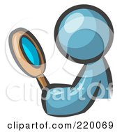 Royalty Free RF Clipart Illustration Of A Denim Blue Man Inspecting Something Through A Magnifying Glass