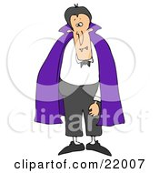 Male Vampire With Fangs Standing And Wearing A Purple Cape Over A White Shirt And Black Pants