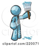 Royalty Free RF Clipart Illustration Of A Denim Blue Man Painter Holding A Dripping Paint Brush by Leo Blanchette