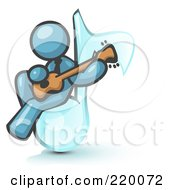 Denim Blue Man Sitting On A Music Note And Playing A Guitar