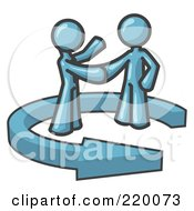 Poster, Art Print Of Denim Blue Salesman Shaking Hands With A Client While Making A Deal
