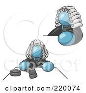 Royalty Free RF Clipart Illustration Of A Denim Blue Judge Man Wearing A Wig In Court