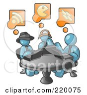 Royalty Free RF Clipart Illustration Of Three Denim Blue Men Using Laptops In An Internet Cafe