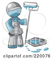 Royalty Free RF Clipart Illustration Of A Denim Blue Man Painter With A Paint Pan And Roller by Leo Blanchette