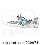 Royalty Free RF Clipart Illustration Of A Denim Blue Man Dancing And Walking On A Piano Keyboard