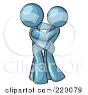 Royalty Free RF Clipart Illustration Of A Denim Blue Man Gently Embracing His Lover Symbolizing Marriage And Commitment