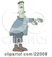 Clipart Illustration Of Frankenstein With Torn Clothes And Boots Walking With His Arms Out In Front Of Him by djart