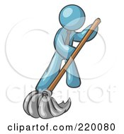 Royalty Free RF Clipart Illustration Of A Denim Blue Man Wearing A Tie Using A Mop While Mopping A Hard Floor To Clean Up A Mess Or Spill