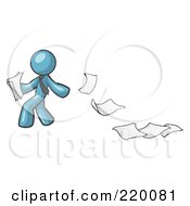 Royalty Free RF Clipart Illustration Of A Denim Blue Man Dropping White Sheets Of Paper On A Ground And Leaving A Paper Trail Symbolizing Waste