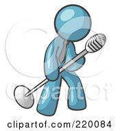 Royalty Free RF Clipart Illustration Of A Denim Blue Man In A Tie Singing Songs On Stage During A Concert Or At A Karaoke Bar While Tipping The Microphone by Leo Blanchette