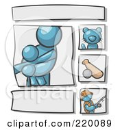 Royalty Free RF Clipart Illustration Of A Scrapbooking Kit Page With A Denim Blue People Family Cat Baseball And Man Fishing by Leo Blanchette