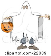Halloween Trick Or Treater In A White Sheet Ghost Costume Holding His Arms Out And Carrying A Pumpkin Basket