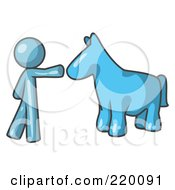 Royalty Free RF Clipart Illustration Of A Denim Blue Man Petting A Blue Horse