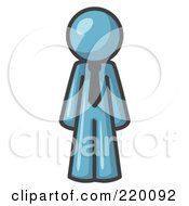 Royalty Free RF Clipart Illustration Of A Denim Blue Business Man Wearing A Tie Standing With His Arms At His Side