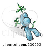 Royalty Free RF Clipart Illustration Of A Denim Blue Man Swinging On A Vine Like Tarzan by Leo Blanchette