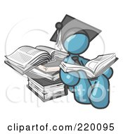 Royalty Free RF Clipart Illustration Of A Denim Blue Male Student In A Graduation Cap Reading A Book And Leaning Against A Stack Of Books