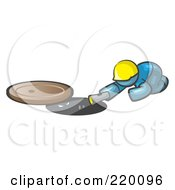 Royalty Free RF Clipart Illustration Of A Denim Blue Man Design Mascot Sewer Worker Shining A Flashlight Down A Man Hole by Leo Blanchette