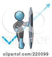 Denim Blue Lady In A Gray Dress Standing With A Giant Pen In Front Of A Blue Check Mark