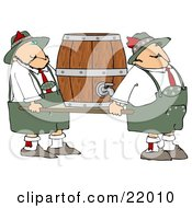 Couple Of Oktoberfest Guys Carrying A Heavy Beer Keg Barrel On A Platform