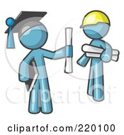 Royalty Free RF Clipart Illustration Of A Denim Blue Man Graduate And Denim Blue Man Contractor