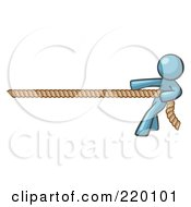 Royalty Free RF Clipart Illustration Of A Denim Blue Design Mascot Man Tugging On A Rope