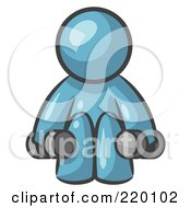 Royalty Free RF Clipart Illustration Of A Denim Blue Man Lifting Dumbbells While Strength Training
