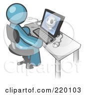 Royalty Free RF Clipart Illustration Of A Denim Blue Doctor Man Sitting At A Computer And Viewing An Xray Of A Head